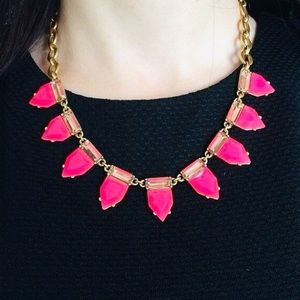 :: S & D Eye Candy Hot Pink Vintage Gold Necklace